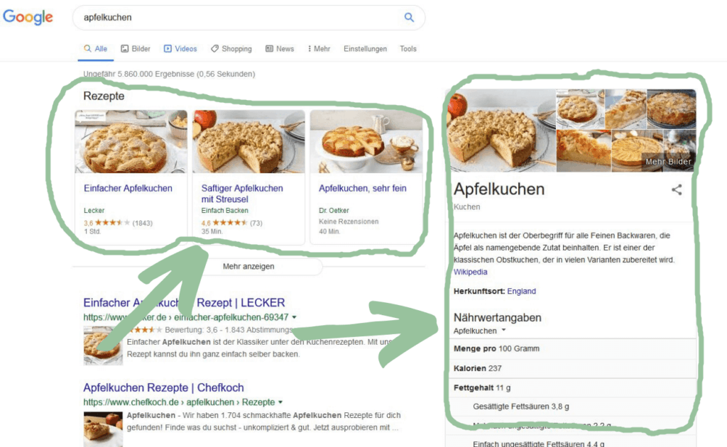 Featured Snippet für das Keyword Apfelkuchen