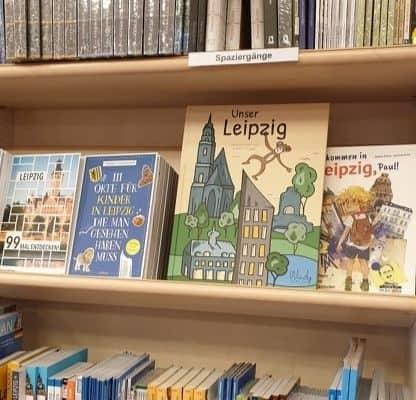 Das Buch Unser Leipzig in einer Buchhandlung