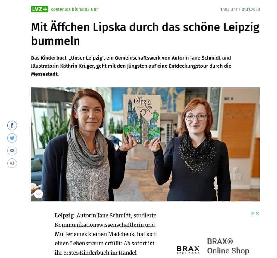 Autorin Jane Schmidt in der Leipziger Volkszeitung
