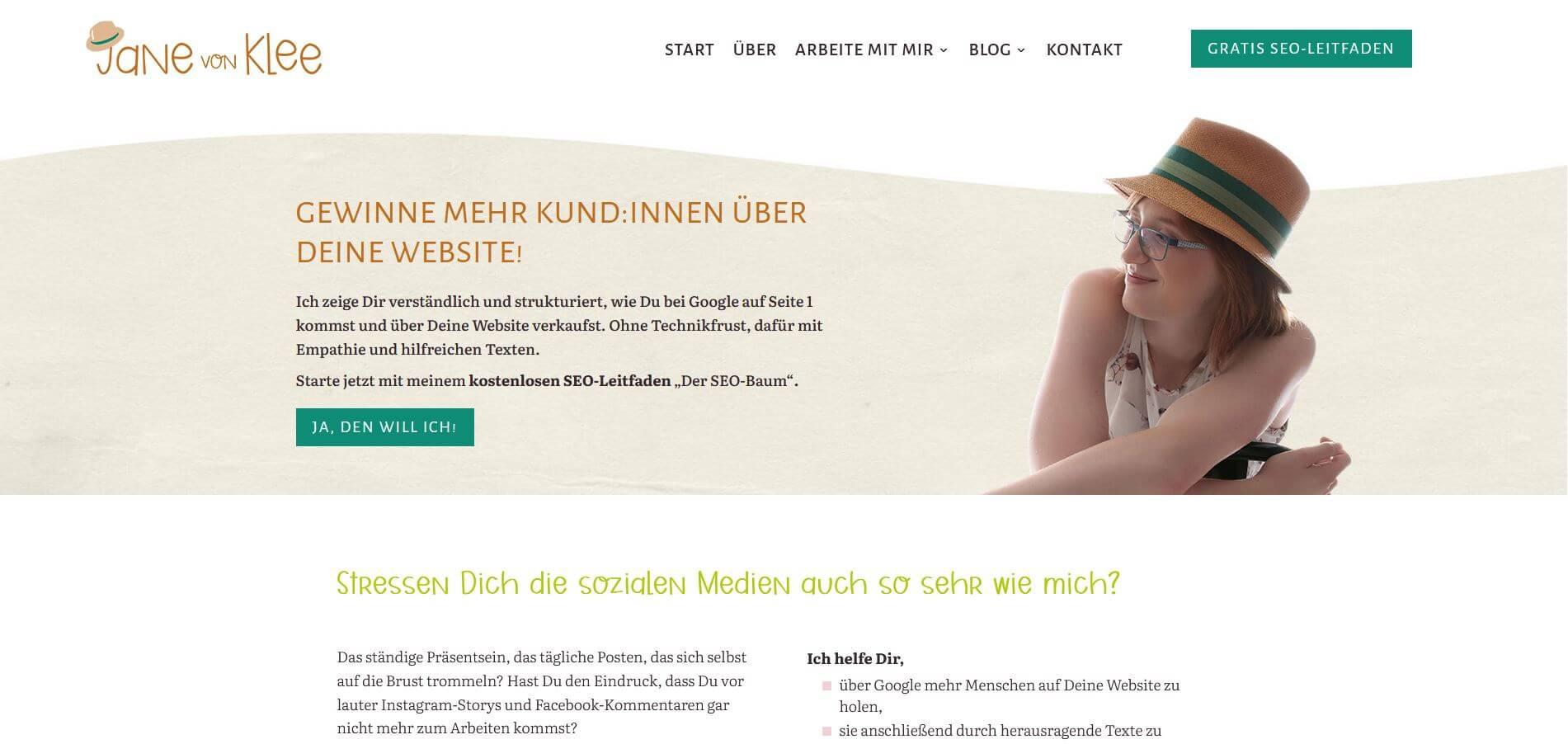 Above-the-Fold-Bereich der Seite janevonklee.de auf dem Desktop.