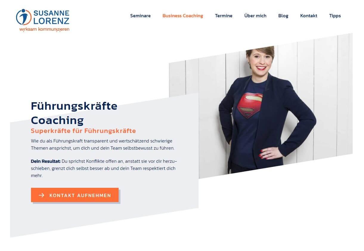 Susanne Lorenz Webseite above the fold