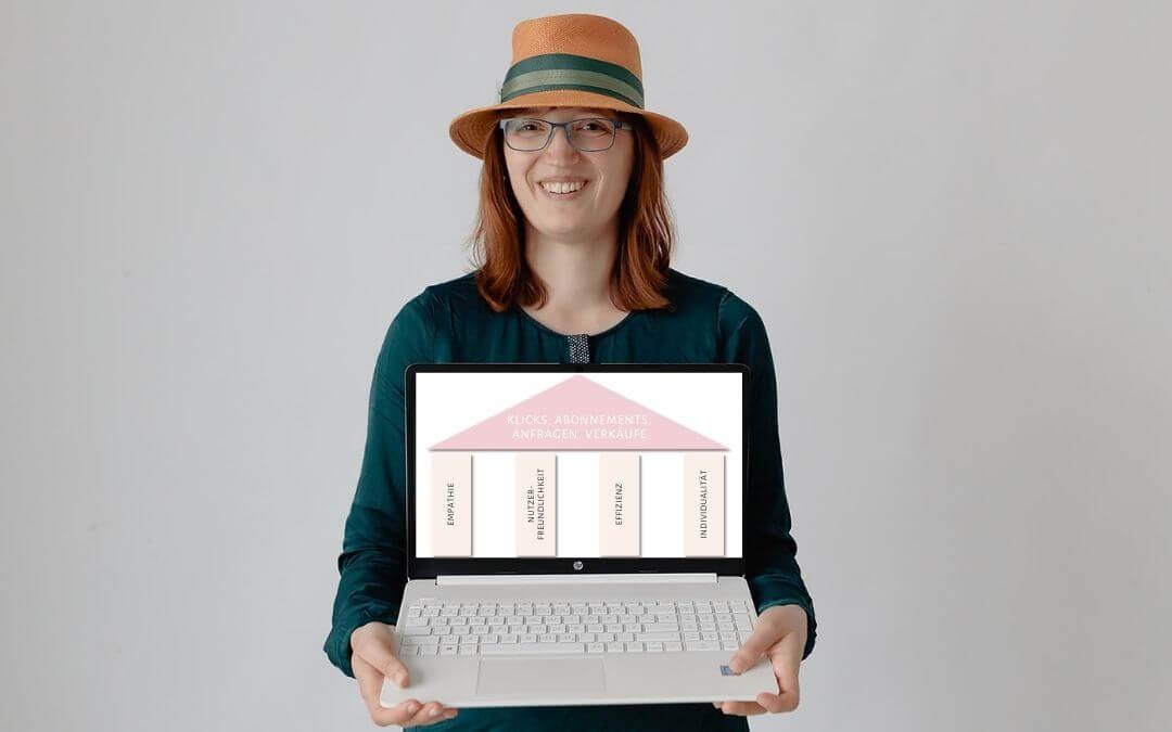 Human SEO: Jane von Klee hält das Modell zur Methode hoch